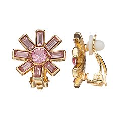 Dana Buchman Pink Flower Clip-On Earrings