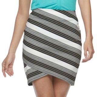 Juniors' Joe B Striped Cross Front Ribbed Skirt