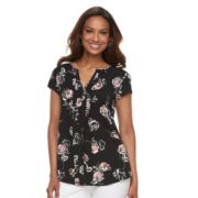 Women's Croft & Barrow® Print Pleated Top