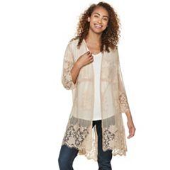 Floral Lace Crochet Kimono