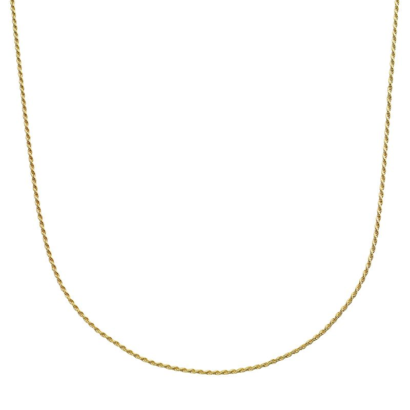"""Primavera 24k Gold Over Silver Rope Chain Necklace, Women's, Size: 20"""", Yellow"""