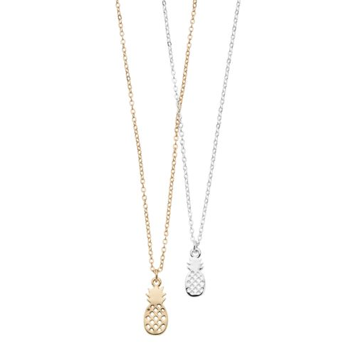 Lc Lauren Conrad Baby & Big Pineapple Pendant Nickel Free Necklace Set by Kohl's
