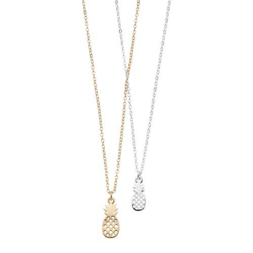 Lc Lauren Conrad Baby & Big Pineapple Pendant Nickel Free Necklace Set by Kohl's