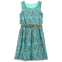 Girls 7-16 Speechless Belted Sleeveless Floral Chiffon Dress