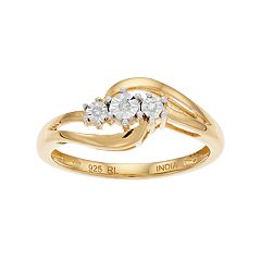 Everlasting Diamonds 14k Gold Over Silver Diamond Accent 3-Stone Ring