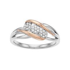 Everlasting Diamonds Two Tone Sterling Silver 1/10 Carat T.W. Diamond 3-Stone Cluster Ring