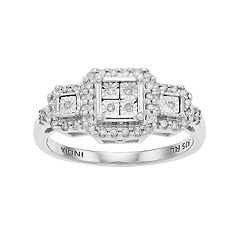 Everlasting Diamonds Sterling Silver 1/5 Carat T.W. Diamond Square Cluster 3-Stone Ring