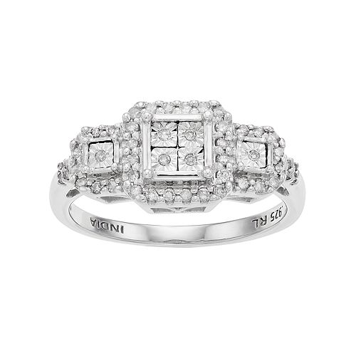 Everlasting Diamonds Sterling Silver 1/5 Carat T.W. Diamond Square Cluster 3-Stone Ring