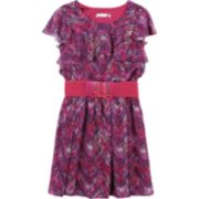 Girls 7-16 Speechless Belted Short Sleeve Ruffled Chiffon Dress