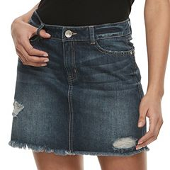 Juniors' Rewash Distressed Dark Wash Mini Jean Skirt