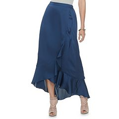 Women's Jennifer Lopez Ruffle Satin Maxi Skirt