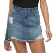 Juniors' Rewash Distressed Medium Wash Jean Mini Skirt