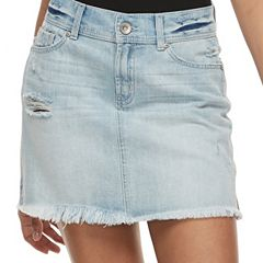 Juniors' Rewash Frayed Light Wash Jean Mini Skirt