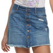 Juniors' Rewash Frayed Button-Front Jean Mini Skirt