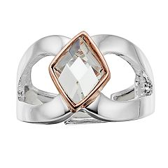 Jennifer Lopez Two Tone Simulated Crystal Stretch Ring