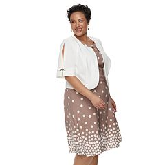 Plus Size Maya Brooke Polka Dot Sleeveless Dress & Jacket Set