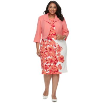 Plus Size Maya Brooke Floral Dress & Jacket Set