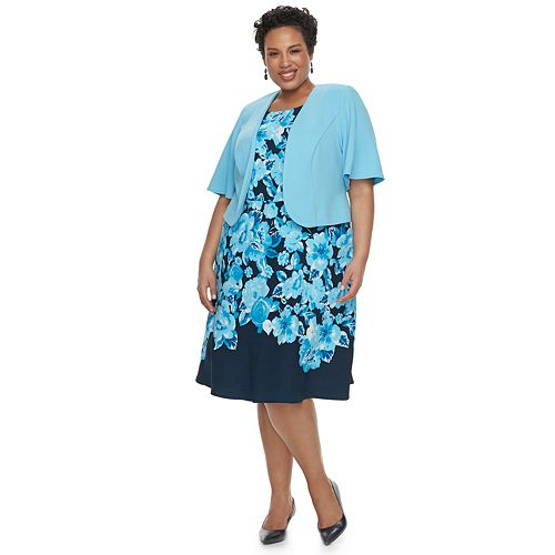 Plus Size Maya Brooke Floral Sleeveless Dress & Jacket Set