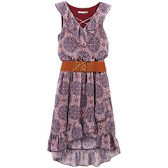 Girls 7-16 Speechless Belted Cross Front Ruffled High Low Dress