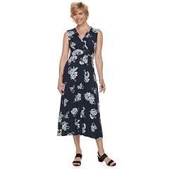 Petite Croft & Barrow® Printed Surplice Dress