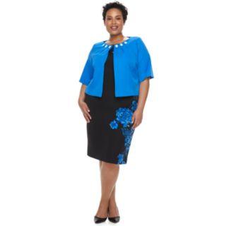 Plus Size Maya Brooke Floral Sleeveless Dress & Beaded Jacket Set