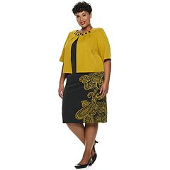 Plus Size Maya Brooke Floral Sleeveless Dress & Beaded Jacket Set