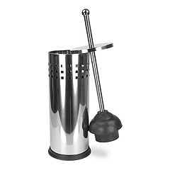 Home Basics Stainless Steel Toilet Plunger & Holder