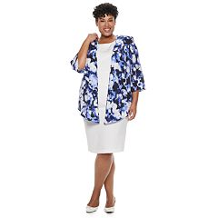 Plus Size Maya Brooke Sleeveless Dress & Printed Jacket Set