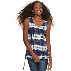 Juniors' Love, Fire Printed Slubbed Lace-Up Tank