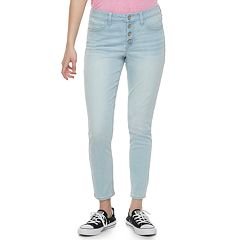 Juniors' SO® Exposed Button High-Waisted Ankle Jeggings