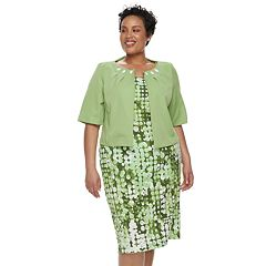 Plus Size Maya Brooke Sleeveless Dress & Jacket Set