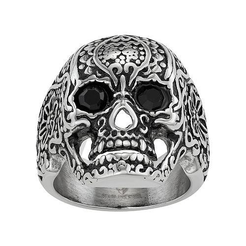 Men's Stainless Steel Floral Skull Ring
