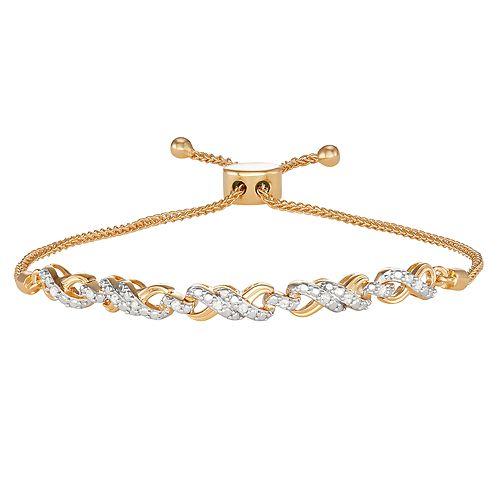 14k Gold Over Silver 1/10 Carat T.W. Diamond Infinity Bolo Bracelet