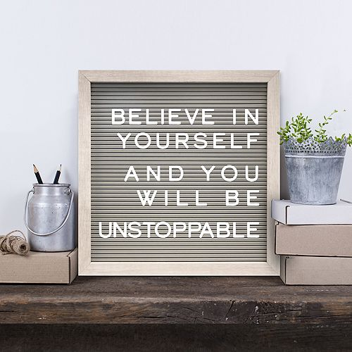 "New View 12"" x 12"" Gray Letter Board Wall Decor 190-piece Set"