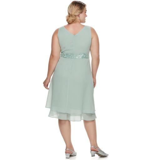 Plus Size Le Bos Sequin Dress & Jacket set
