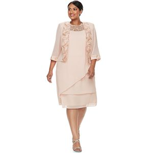 f5fcb389fbe Plus Size Le Bos Embroidered Tiered Evening Dress   Jacket Set