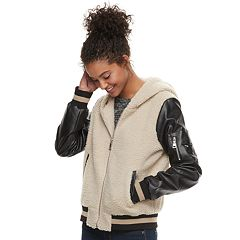 madden NYC Juniors' Sleeve-Pocket Sherpa Varsity Jacket
