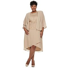 Plus Size Maya Brooke Embroidered Dress & Jacket Set