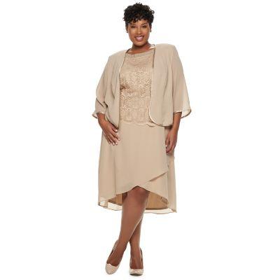 Plus Size Maya Brooke Embroidered Dress & Jacket Set