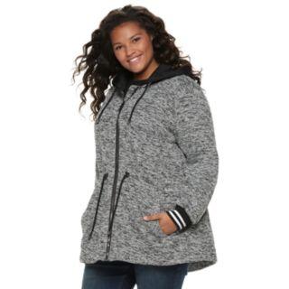 madden NYC Juniors' Plus Size Fleece Zip Front Hooded Jacket