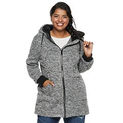 madden NYC Juniors' Plus Size Sherpa-Lined Fleece Jacket