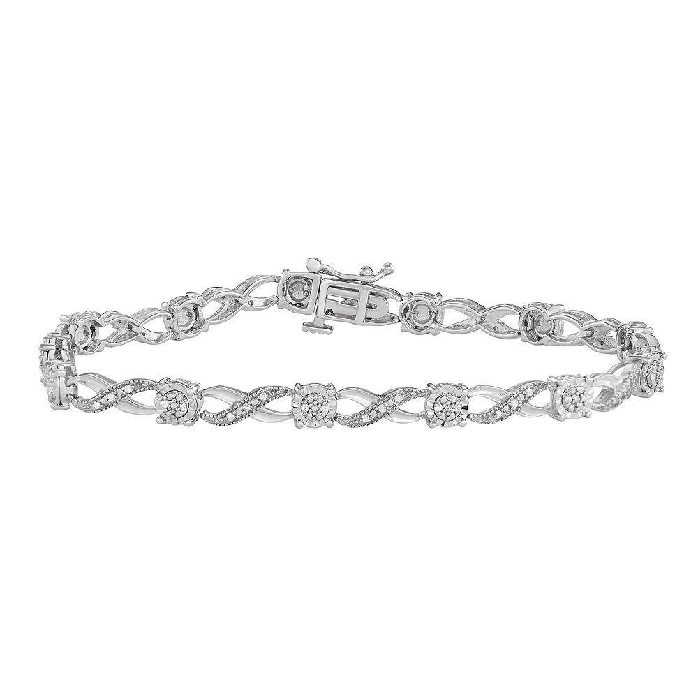 Sterling Silver 1/5 Carat T.W. Diamond Infinity Bracelet
