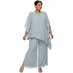 Plus Size Maya Brooke Beaded Poncho & Pant Set