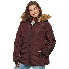 madden NYC Juniors' Plus Size Short Puffer Jacket