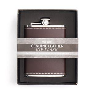 Bey-Berk Initial Monogrammed Leather Flask