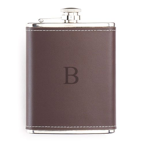 Bey-Berk Initial Monogrammed Leather Flask