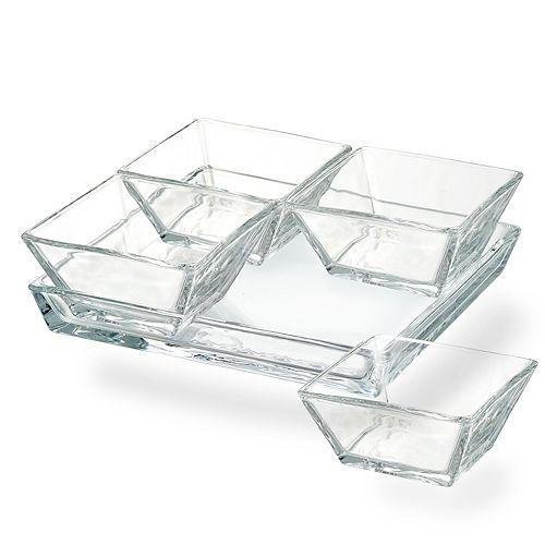 Artland 4-piece Cortland Bowl Set with Glass Tray
