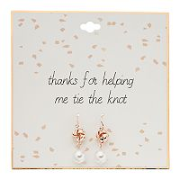 Tying the Knot Simulated Pearl Knot Nickel Free Drop Earrings