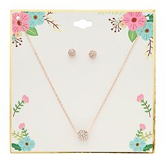Simulated Crystal Ball Pendant Necklace & Stud Earring Set
