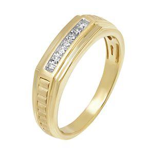 Men's 10k Gold 1/10 Carat T.W. Diamond Ridged Ring